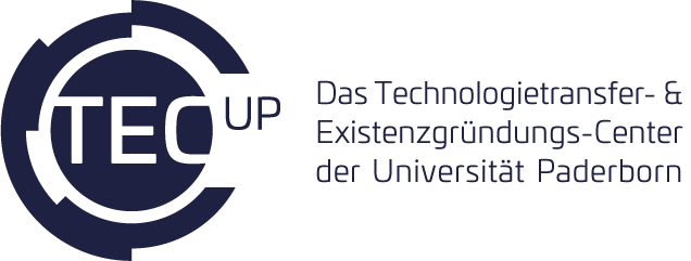 TecUP Logo dunkelblau mit Claim