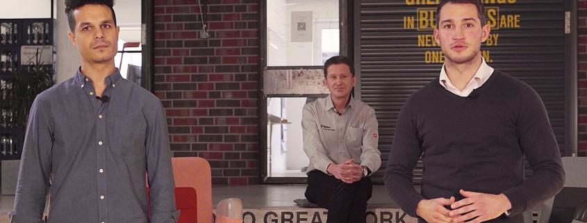 Amir Giebel, Andreas Fischer und Jona Vogel (v. l.) in der Arena der garage33. ENERVATE entwickelt ein zukunftsweisendes Konzept für die schnelle und nachhaltige Modernisierung des Altbaubestandes.